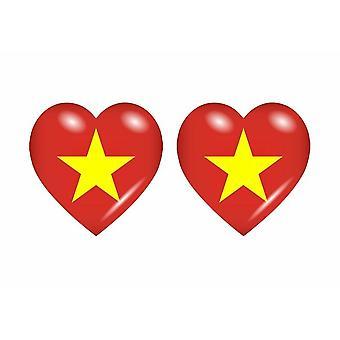 2x عصا ملصقا علم القلب VN فيتنام