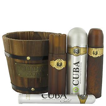 Ouro de Cuba conjunto por Fragluxe 3,4 oz Eau De Toilette Spray + 1,17 oz Eau De Toilette Spray + 6,7 oz Body Spray + 3,3 oz de presente após barba