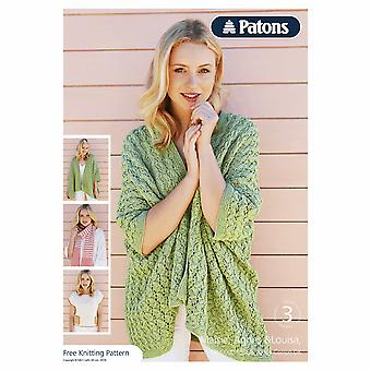 Patons Knitting Pattern - Cotton DK Ladies Edge To Edge Lacy Jacket