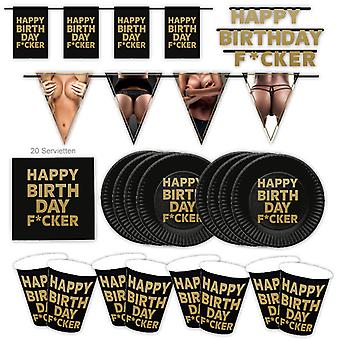 Happy Birthday F * cker Sexy StripperIn Men Party Set XL 39-Piece voor 8 gasten Verjaardag Decoratie Party Pakket