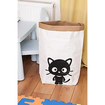 Katze Korb Farbe weiß, schwarz in Kraft Karte, Vinyl, L50xP15xA60 cm