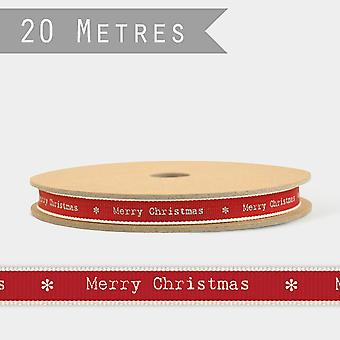 East of India Thin Stitch Ribbon 20m REEL Merry Christmas Red