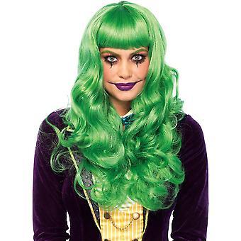 Grön vågig lång peruk