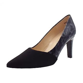 Peter Kaiser Ekatarina Stylish Leather Court Shoes In Black Suede