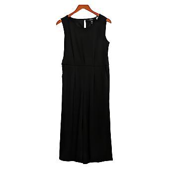 Du Jour Petite Jumpsuits Cropped Wide Leg Knit Tie Waist Black A366248