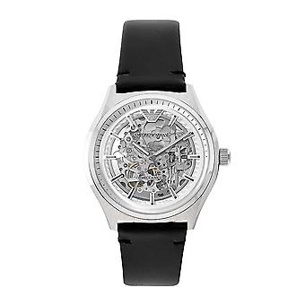 Armani Watches Ar60003 Mens Silver Skeleton Watch & Black Leather Strap