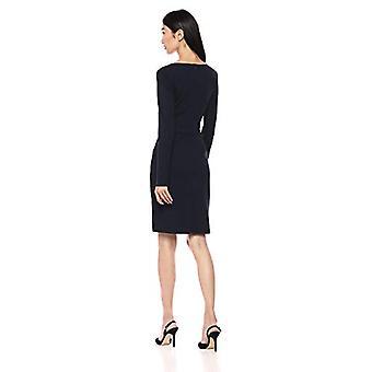 Marque - Lark & Ro Women's Long Sleeve V-Neck Paneled Waist Sheath Dres...
