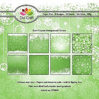 Dixi Craft 6x6 Inch Paper Pack Snow Crystal Background Green