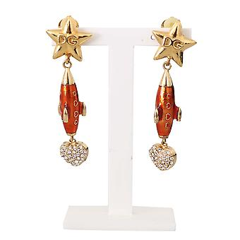 Dolce & Gabbana Gold Crystal ROCKET Ship Clip On Dangling Earrings -- SMY5296624