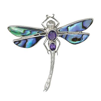 Eternal Collection Daydream Abalone Shell And Amethyst Dragonfly Sterling Silver Brooch