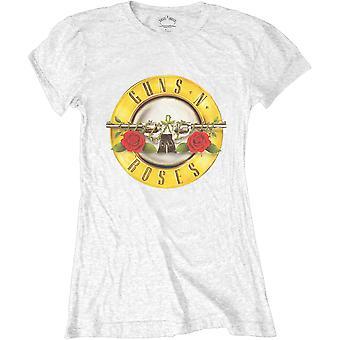 Ladies Guns N' Roses White Classic Bullet Logo Official T-Shirt