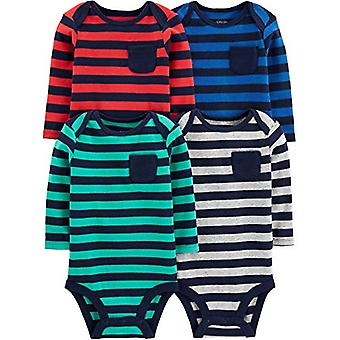 Simple Joys af Carter's Boys' 4-Pack Soft Thermal Long Sleeve Bodysuits, Stri...
