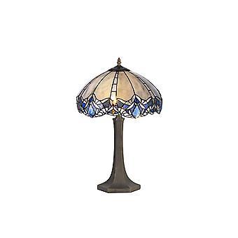 Éclairage Luminosa - 2 lampes de table octogonales lumineuses E27 avec 40cm Tiffany Shade, Bleu, Cristal clair, Laiton Antique Vieilli