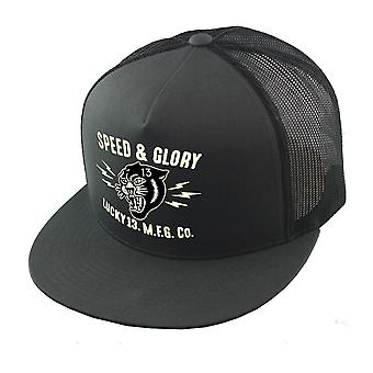 Lucky 13 Unisex Snapback Cap The Panther Head Charcoal Poplin Mesh