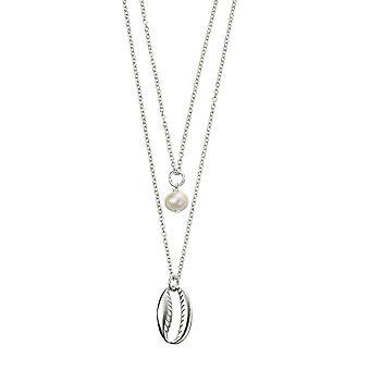 Anfänge Sterling Silber Süßwasser Perle Meer Shell DoppelSchicht Halskette N4376W