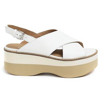 Janet Sport White Leather Basel With Wedge Sandal