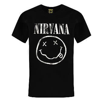 Nirvana Boys T-Shirt | Smiley Face Logo Band Tee | Black Short Sleeve Kids Top