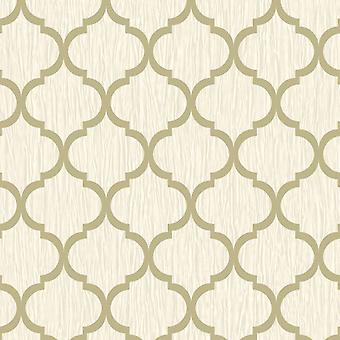 Kristall Spaljé Tapet Ivory / Guld Debona 8898