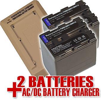 2 akkumulátor + töltő a Sony NP-QM91D HVR-a1 DCR-HC14 DCR-HC14E HDR-HC1 NP-FM50 DCR-TRV14 DCR-TRV255