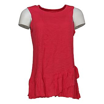 DG2 por Diane Gilman Women's Top Red Tunic Tank Cotton Sleeveless 725-087
