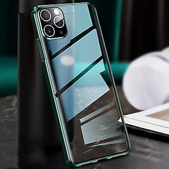 لفون 11 برو ماكس حافة مستقيمة الإطار المعدني + الزجاج واقية حالة (الأخضر)