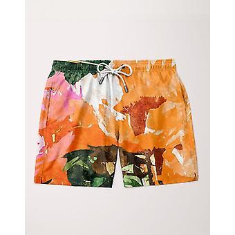 Orange flower shorts