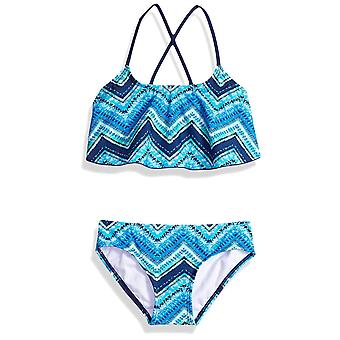 Kanu Surf Big Girls' Karlie Flounce Bikini Beach Sport 2-Piece Swimsuit, Lilly Navy Check, 10