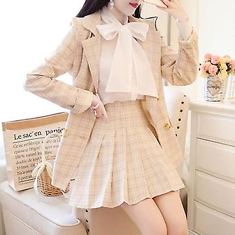 Autumn Tweed Set, Women Slim Plaid Short, Trim Jacket Coat + Pleated Skirts