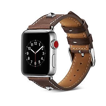 ekte lær nagle ur stropp for Apple Watch Series 4 og 3 & 2 & 1 38mm & 40mm (Mørk Brun)