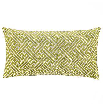 """Zeus Jacquard Woven Lumbar Pillow, 22"""" X 12"""",  Green"""