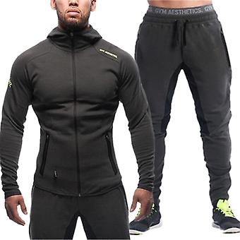 Men's Sports Suit Brand Clothing Tracksuit Zipper Sets, Sweatshirt