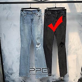 2 צבעים בסגנון רחוב מכנסיים מותניים גבוהים תפירת מכנסיים אלסטיים חור הברך