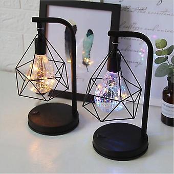 Retro Iron Art Table Lamp, Battery Hollow Diamond Shape Reading Light