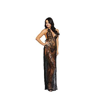 Dreamgirl Black Lace Gown & Matching G-String