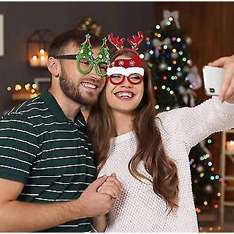 4個クリスマスメガネフレームとヘッドバンドかわいいヘアフープ装飾アクセサリークリスマスパーティー用ギフトセット