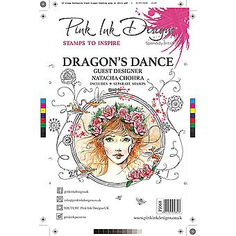 Pink Ink Designs Dragon's Dance A5 Clear Stamp