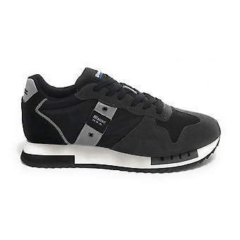 Shoes Blauer Sneaker Running Queens In Suede/ Fabric Black Us21bu04