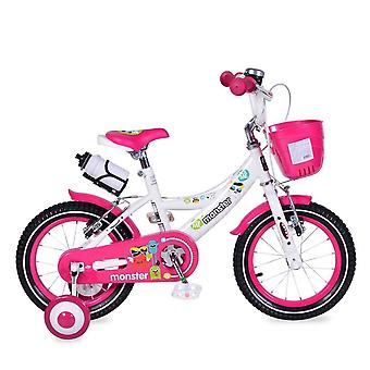 Byox Children's Bike 14 pulgadas 1481 rosa, ruedas de apoyo, botella, campana, cesta delantera