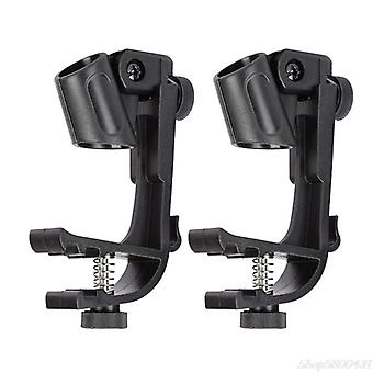 Durable Clip On Drum Rim Shockproof Mount Adjustable Microphone Mic Clamp Stand