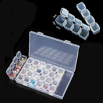 Портативный пластиковый 28 Слоты ногтя Арт Инструменты ювелирные изделия Box Box Организатор