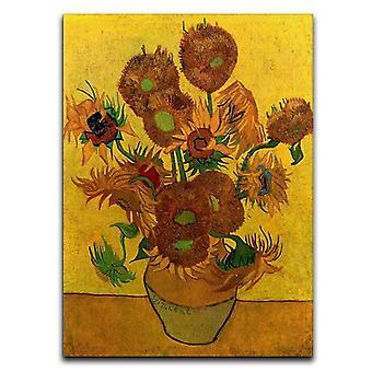 Stillleben Vase mit fünfzehn Sonnenblumen Leinwand