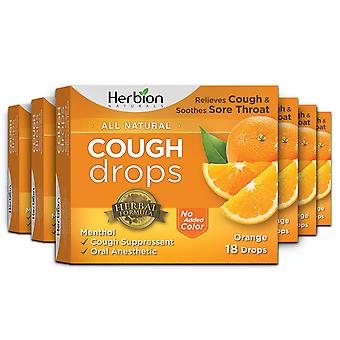 Herbion Naturals Cough Drops with Orange Flavor – 18 Ct (Pack of 6)