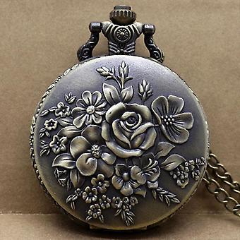 Retro Blooming Flowers Quartz Pocket Watch Bronze Pendant Clock