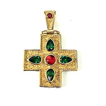 Sterling Silver 18 karaatin kultaa peitto Bysantin tyyli rajat riipus