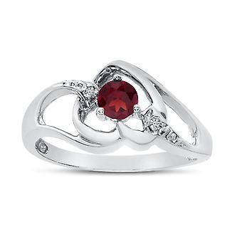 LXR 10k White Gold Round Garnet and Diamond Heart Ring 0.21 ct