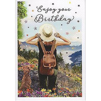 ICG Ltd Open Birthday Card Essence Range - Girl Backpacker