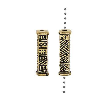 TierraCast Tin kralen, lange etnische ontwerp 15,5x4mm, 2 stuks, antieke vergulde