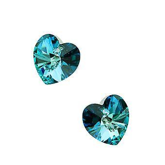 Kryształ Swarovskiego, #6228 wisiorki serca 14mm, 2 sztuki, Bermudy Blue