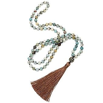 BENAVA Mala - Necklace in 108 amazonian turquoise blue pearls with copper tassel and pendant, 80 cm