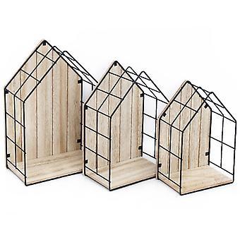 Unités d'affichage en forme de maison en bois et en fil métallique, ensemble de 3
